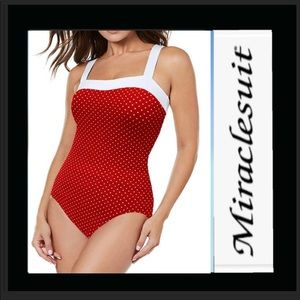 Miraclesuit red white swimsuit NWT 16